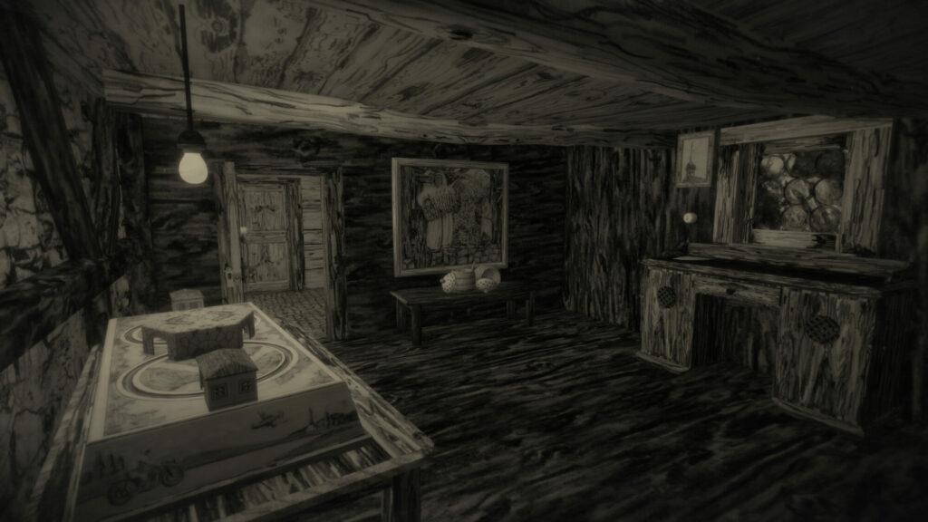 Ein Screenshot aus Mundaun zeigt das innere einer alten Hütte