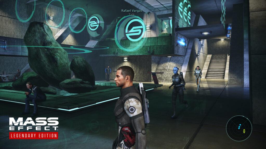 Ein Screenshot aus Mass Effect auf einer Raumstation